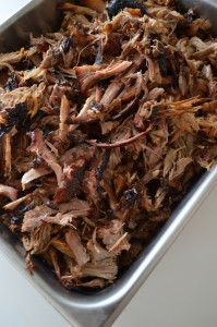 Smoked, pulled pork shoulder
