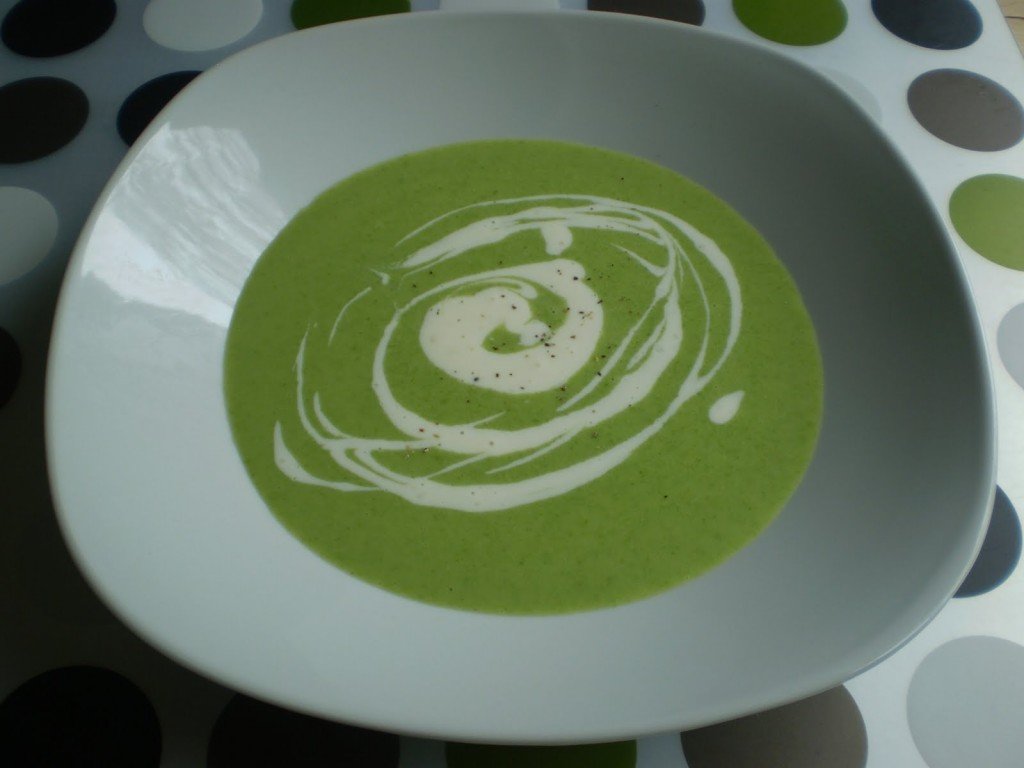 Cream of asparagus soup with crème fraîche