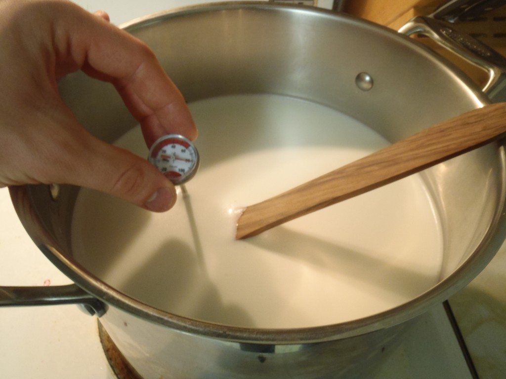 Heating the milk to make yogurt