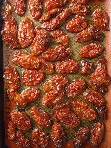 A tray of partly-dried tomatoes