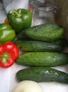 Cucumbers and peppers, about to become relish