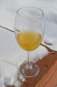 A glass of homemade applejack