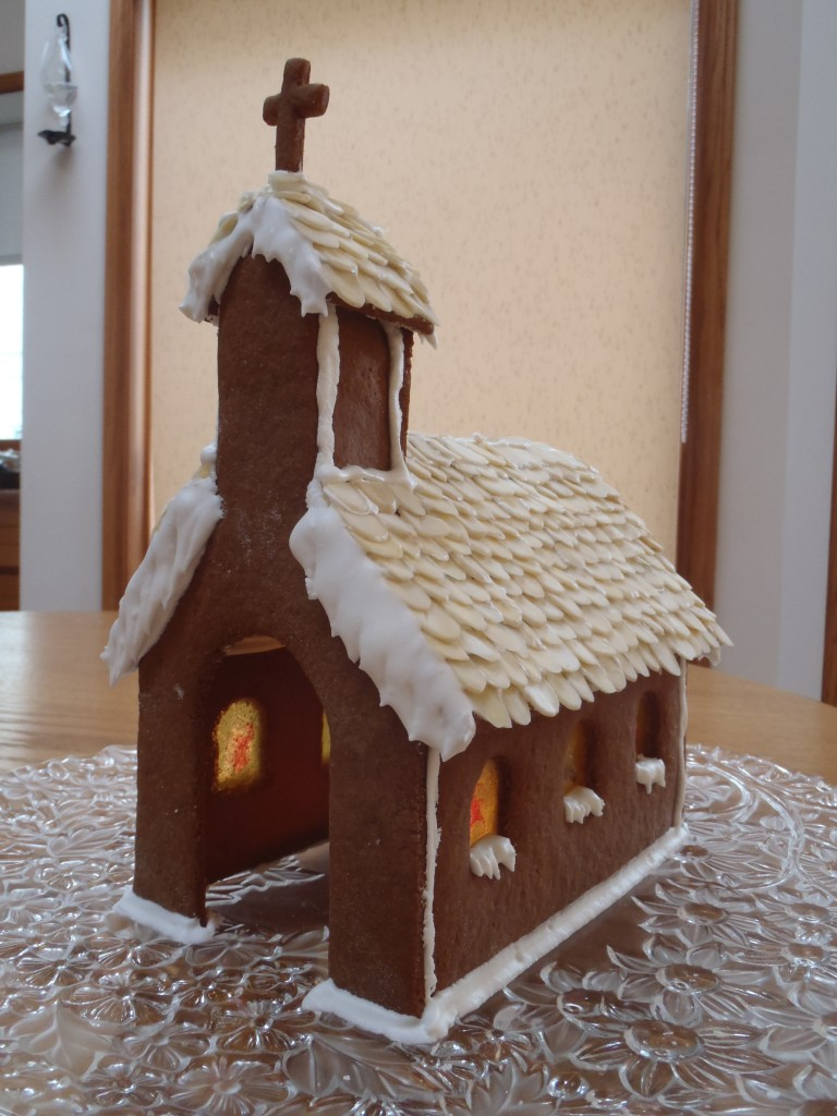 Gingerbread Church With Stained Glass Button Soup