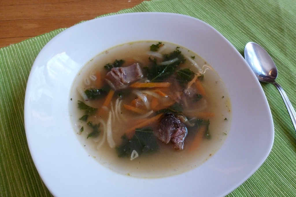 A bowl of barley-broth, with kale and scrag