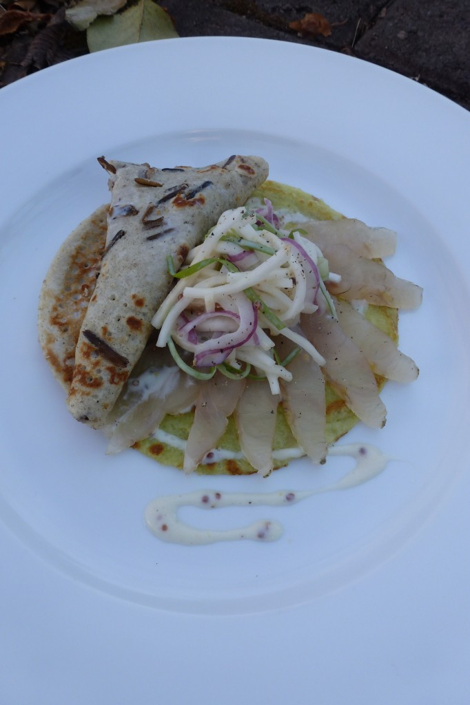 Smoked Pickerel, wild rice and green pea crêpes, celery root slaw, grainy mustard dressing