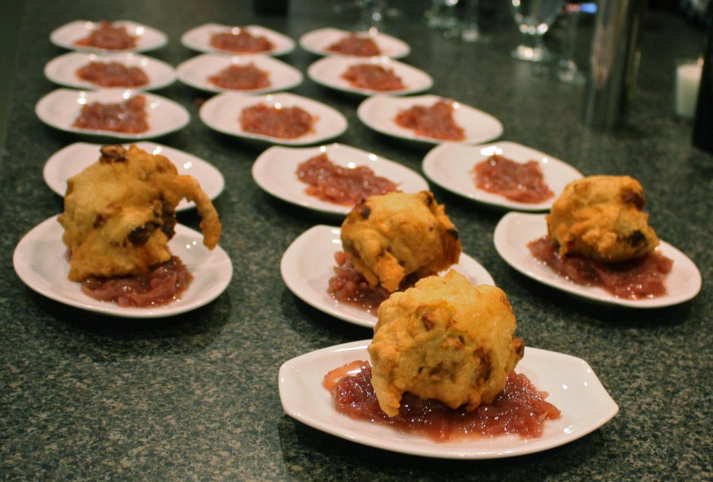 A parade of puffball mushroom fritters with red onion marmelade