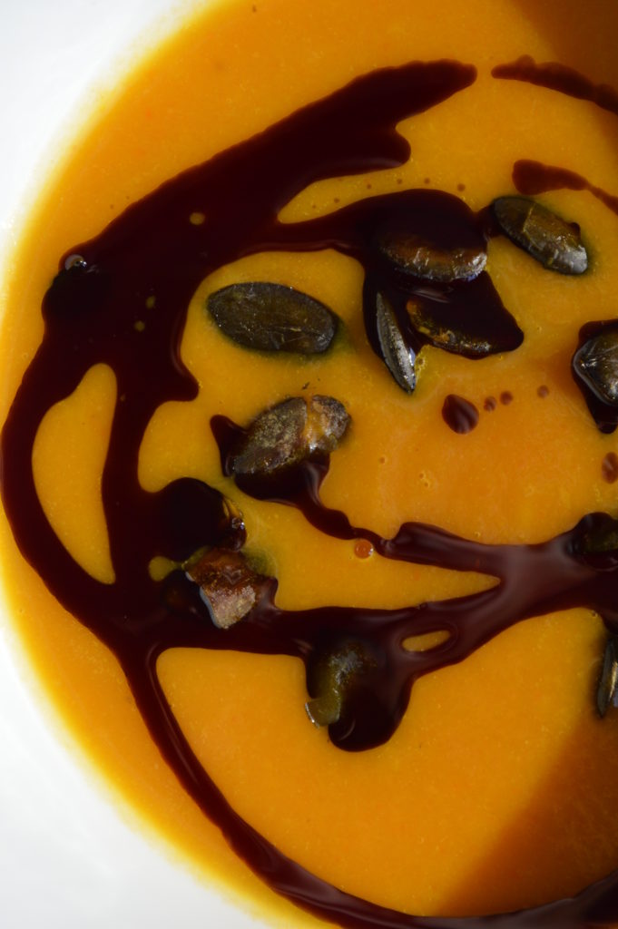 Pumpkin soup drizzled with Styrian pumpkin seed oil