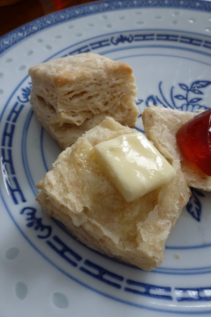 Biscuits with butter and crabapple jelly