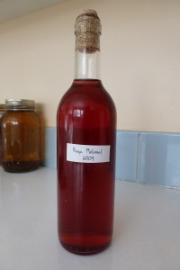 A three year old bottle of raspberry mead, aka raspberry melomel