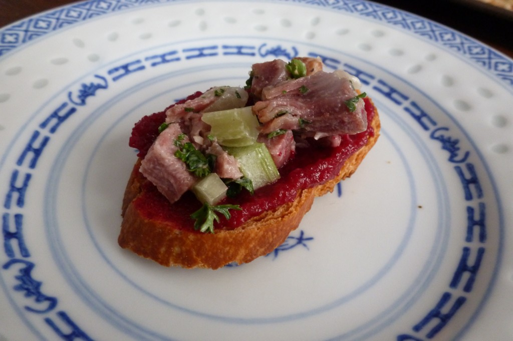 Chopped tongue on toast with beet ketchup