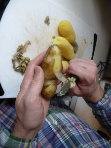 Peeling potatoes German-style
