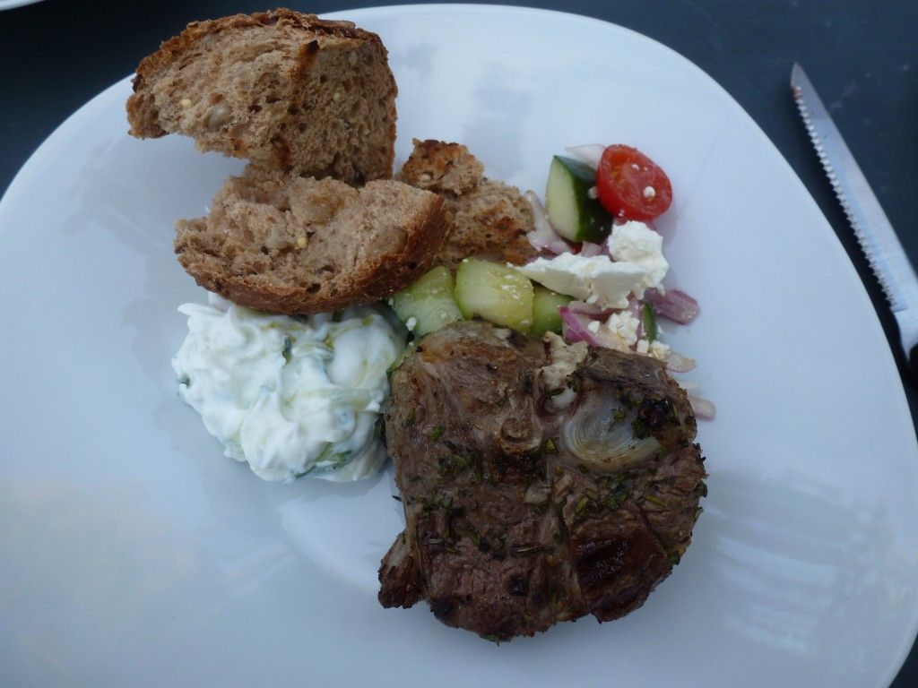 Grilled Lamb Chop, yogurt, Greek salad