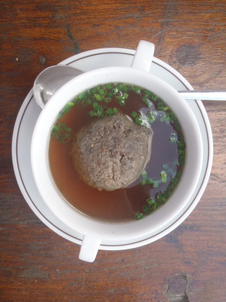 Liver dumpling in beef broth