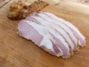 Slices of homemade peameal bacon