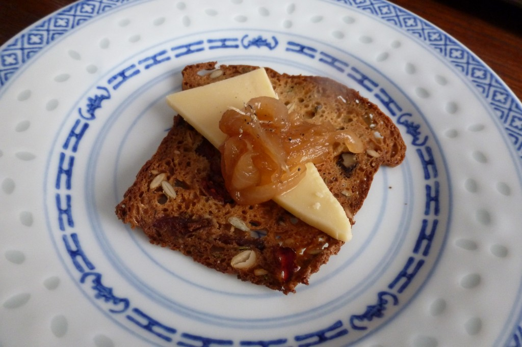 """Cheese and Crackers"": Sylvan Star gouda, dried fruit and nut cracker, and onion jam"