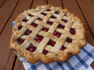 This is the best pie I ever made, a latticed Evans cherry pie