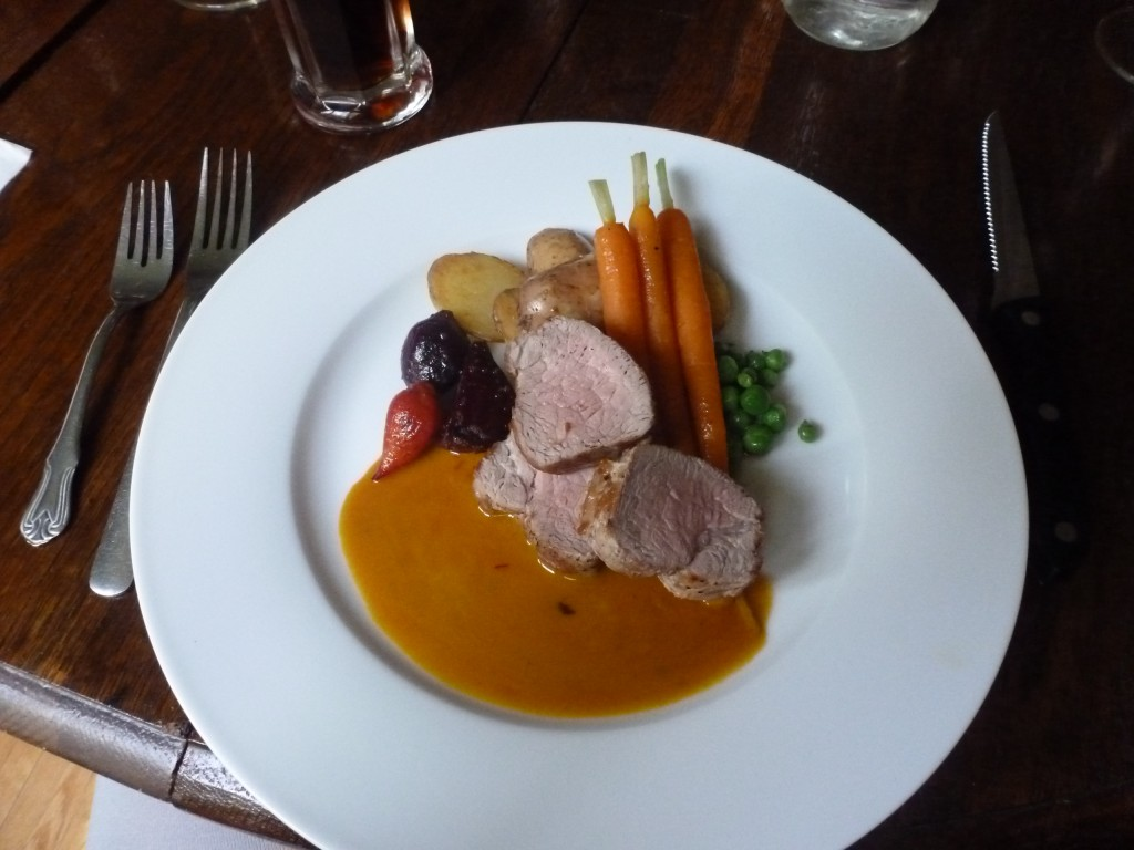Pork tenderloin and little vegetables