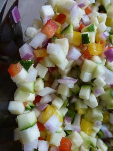 Chopped vegetables, for piccalilli
