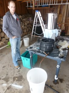Neil supervising the sterilization of the wort chiller