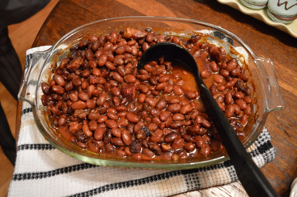 A casserole of baked beans