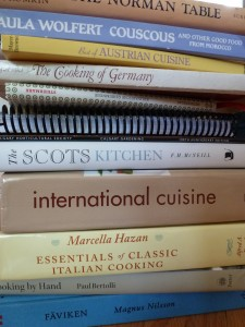 A stack o' cookbooks