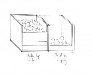 A sketch of the potato bins in my grandmother's farmhouse basement