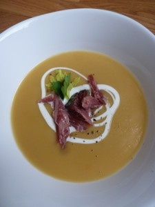 Split-pea soup with ham hock and crème fraîche