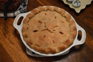A traditional tourtière made for a NewYear's Eve réveillon