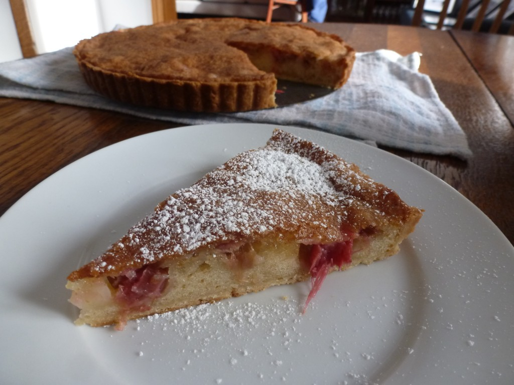 A slice of rhubarb brown butter tart