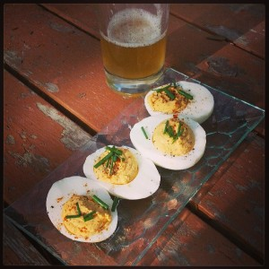 Devilled eggs and their natural companion, beer