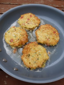 Pan-frying corn fritters