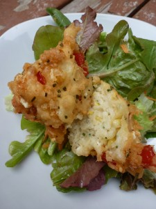 Corn fritters and salad