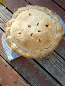 Apple pie, cooling on the deck