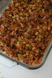 A casserole of Thanksgiving stuffing, or dressing