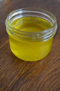 A jar of radiant, clarified butter.