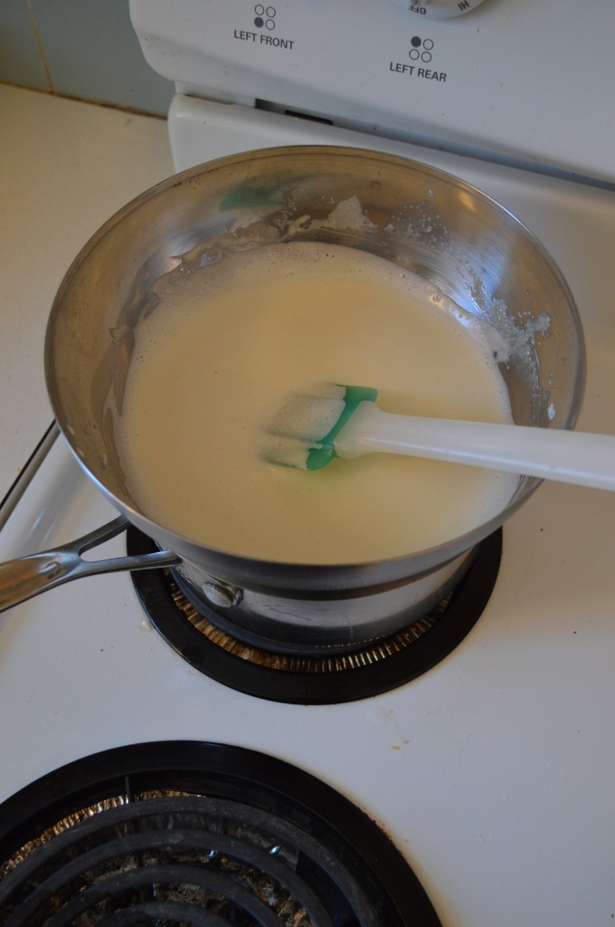 A double boiler for cooking custard sauce