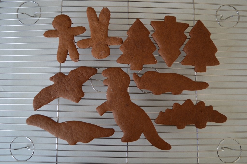 Homemade gingerbread cookies cooling on a wire rack