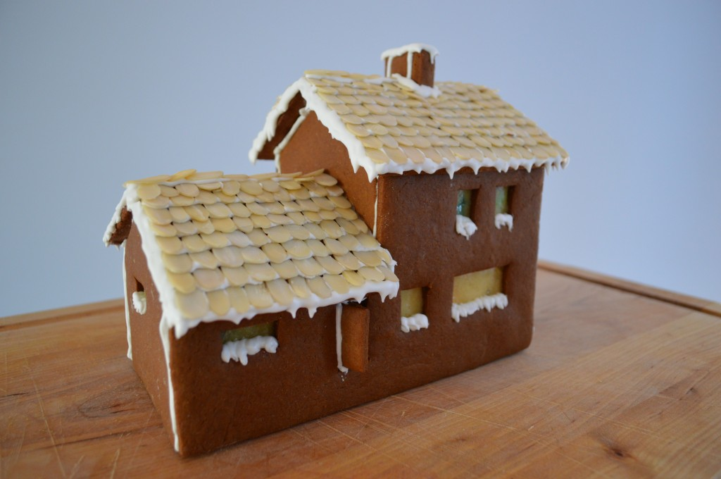 A gingerbread house, modeled after the house I live in