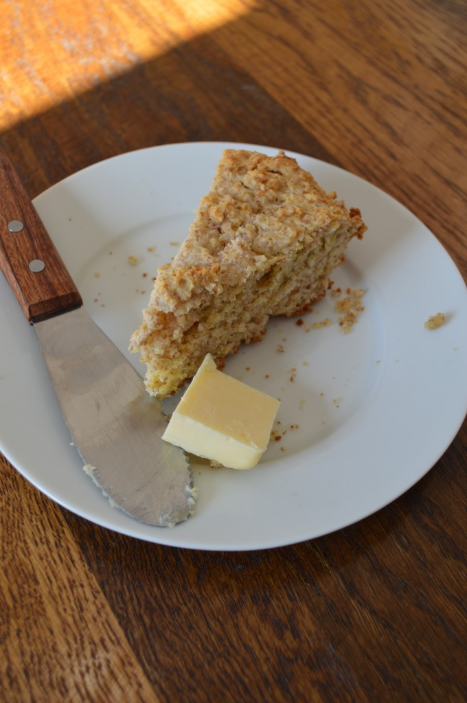A slice of soda bread, with butter