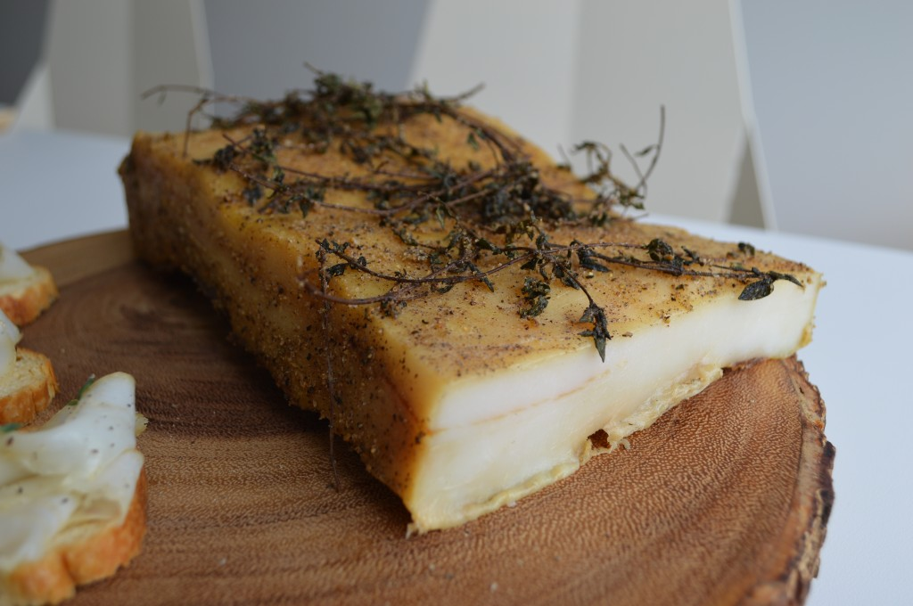 A slab of cured fatback, or lardo.