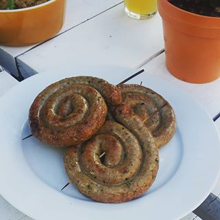 Coils of Greek lamb sausage