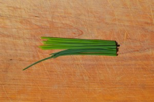 Chive stalks with cut ends flush