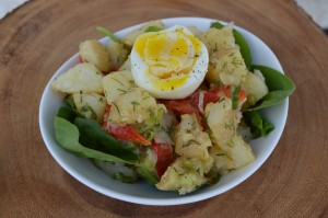 Potato salad with hard-cooked egg.