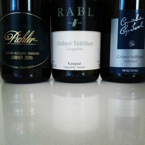 Three examples of Grüner Veltliner available from wine shops here in Edmonton.