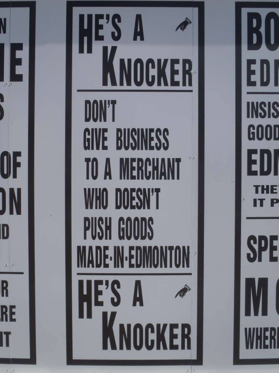 "Another old-timey ""buy local"" sign at Fort Edmonton."