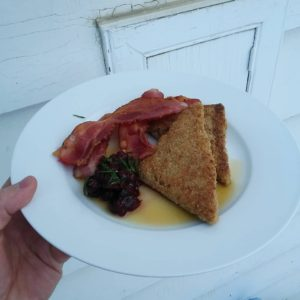 Aunt Dorie's fried porridge with bacon and saskatoon rhubarb compote