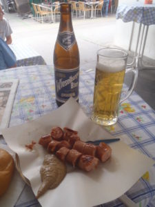 Sausages and beer from an Austrian Wurstlstand.