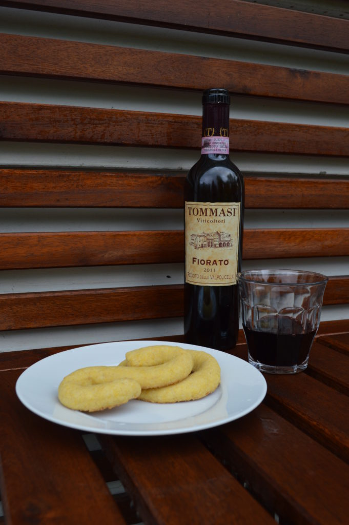 Buranelli cookies with Recioto, a sweet wine from Valpolicella.