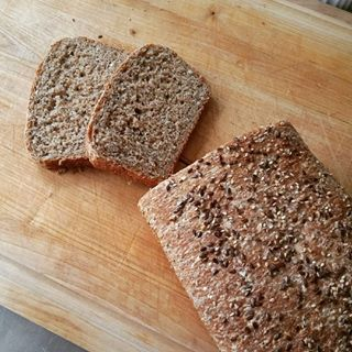 Homemade seeded brown bread.