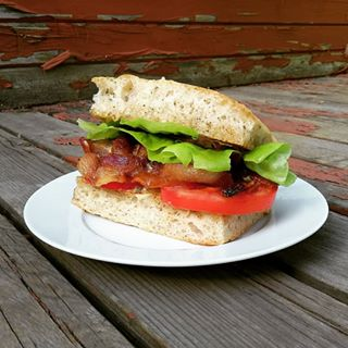 A BLT sandwich made on fresh pan bread.
